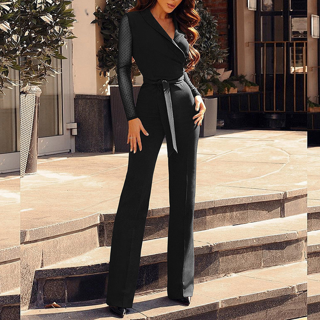 Evening Party Jumpsuits Women Formal Overalls Rompers Long Pants Sleeve Wide Leg Office Ladies Elegant Jumpsuit Wedding Mono