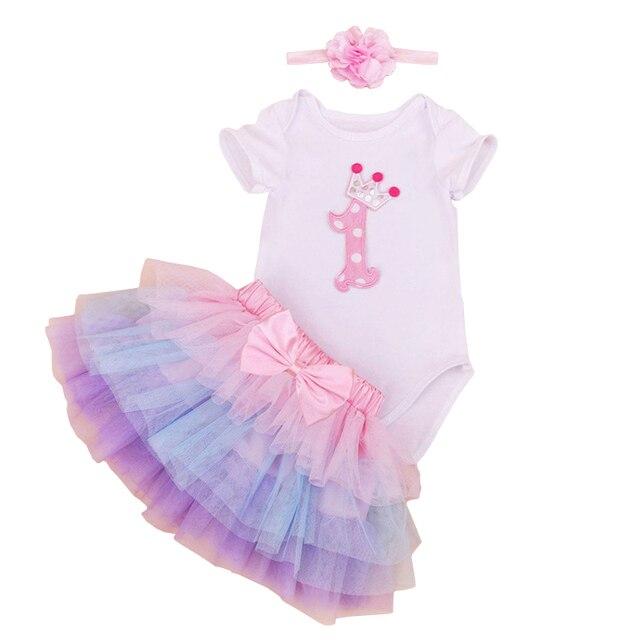 Summer Girl Dress Set 2017 Мода Девочек Новорожденных детская Одежда Roupas Infantis Bebe первый День Рождения Наряд + Пачка Pettiskirt Dress