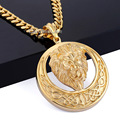 Davieslee Gold Plated Round Lion Carved Celtic Knot Pendant 316L Stainless Steel Pendant Mens Boys Gold Necklace DLHP96 DLHP97