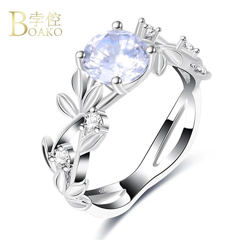 BOAKO עיצוב עלה גפן פרח קריסטל האופנה 925 צבע כסף תכשיטי הצהרת Vintage טבעת טבעות לנשים Femme מתנות Z4