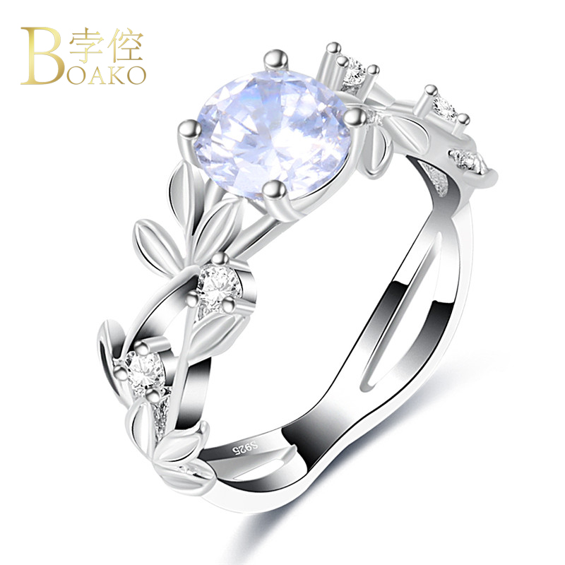 Fashion Jewelry Rose Gold Plated//Sterling Silver Women/'s Color Zircon Ring Z05