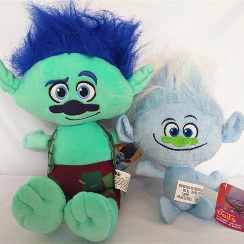 Movie Trolls Plush Toys 2 Style Poppy Branch Dream Works Stuffed Cartoon Dolls The Good Luck Trolls Gift Magic Fairy Hair Wizard