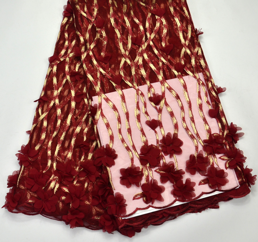 Latest 100% Nigeria Design High Quality 3d Flowers Maroon Tulle lace Applique African wedding lace fabrics 5 Yards