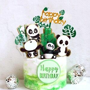Image 2 - Adornos para pastel de Panda Ins, decoración de hoja de tortuga de bambú, feliz cumpleaños para niños, suministros de fiesta para niños y niñas, regalos bonitos para hornear