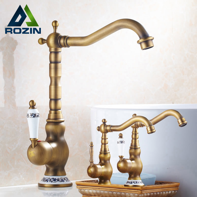 Modern Brass Ceramic Handle Bathroom Sink Mixer Faucet Antique Rotation Bathroom Kitchen Hot and Cold Water Taps недорого