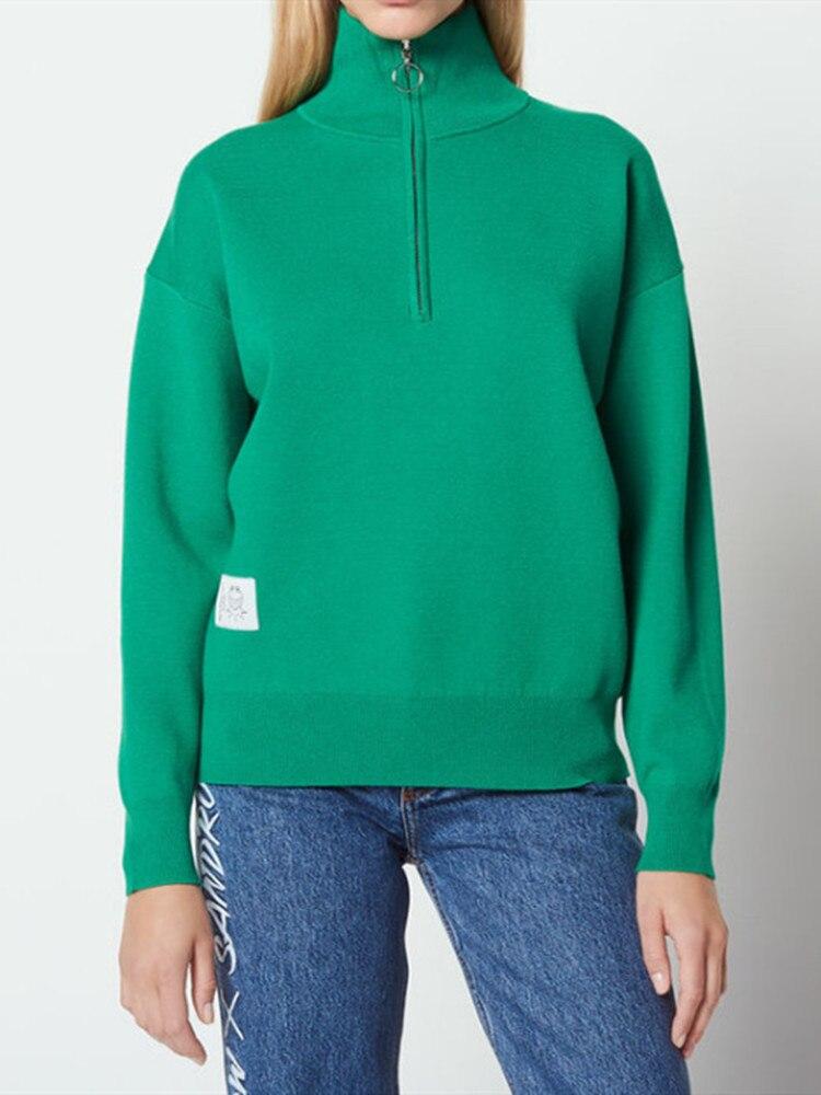 Herbst und Winter Frauen Stricken pullover Rot/Grün langarm pullover hemd stricken damen strickwaren mit zipper-in Pullover aus Damenbekleidung bei  Gruppe 1