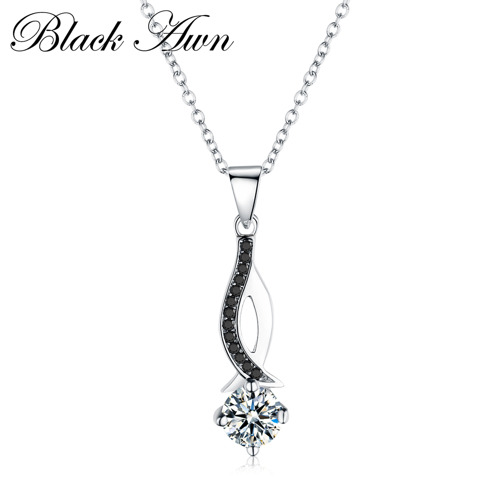 BLACK AWN Classic Fine Genuine 100% 925 Sterling Silver Necklaces&Pendants Jewelry Trendy Black&White Stone Necklace Women P073