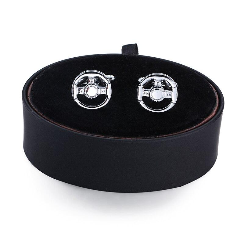 DY new luxury car silver wheel Cufflinks black leather box set men French Cufflinks Gift Set FREE SHIPPING