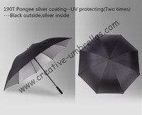 Miễn phí vận chuyển, làm chuyên nghiệp ô dù, thẳng golf umbrellas.16mm sợi thủy tinh trục và xương sườn, tự động mở, windproof