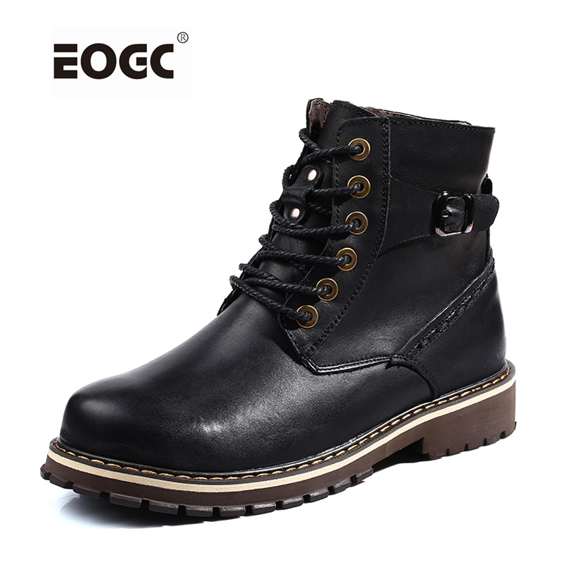 British Style Men Winter Boots Plus Size Genuine Leather Autumn And Winter Shoes Men With Fur Warm Ankle Snow Boots ws7511 men s autumn winter wear british style slim coat khaki l