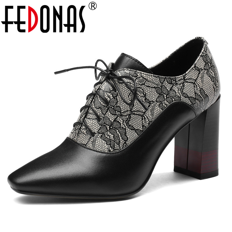 FEDONAS Women High Heels Platforms Shoes Woman Cross Tie Genuine Leather Lace Up Party Wedding Shoes Elegant Office Pumps Shoes elegant tie up and suede design pumps for women