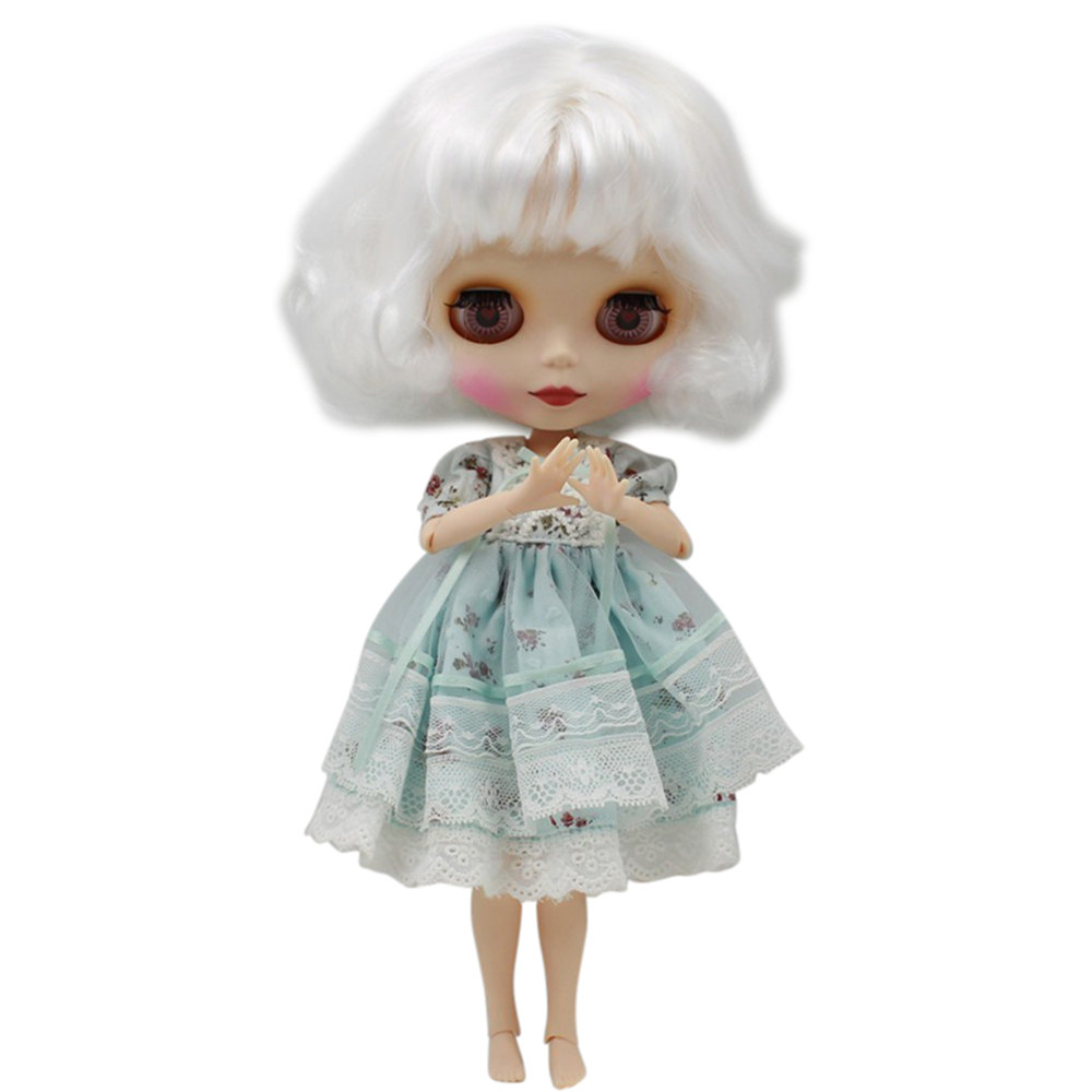 Nude Blyth Doll For Series No 130BL136 Joint body With Bangs White hair Suitable For DIY