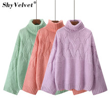 Women Turtleneck Thicken Mohair Sweater Autumn Winter Knitting Pullovers Warm Sweaters Casual Ladies Female Tops Green Purple
