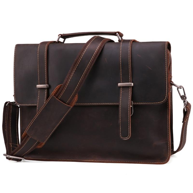 Crazy Horse Leather Men Briefcases Bag Handbag Vintage Genuine Leathe 14 inch laptop Bag Business Casual Men Shoulder Bags