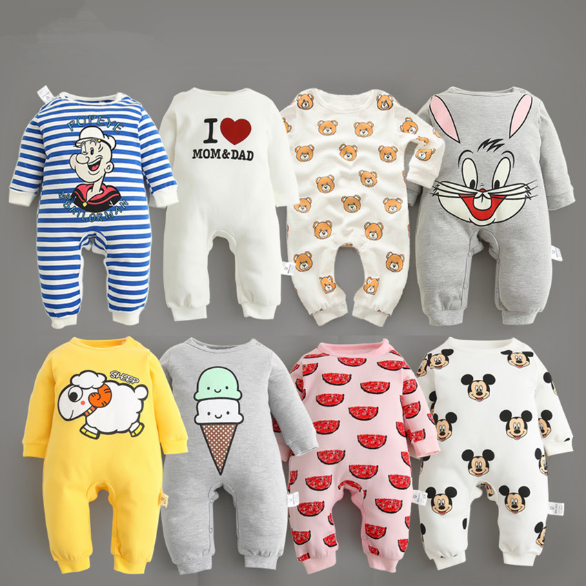 2016 new baby romper boy girl clothes one-piece jumpsuit brand costume toddler suit infant clothing bebes tiger rabbit mickey baby rompers newborn infant clothing 2016 brand baby boy girl long sleeve one piece romper bamboo leaves toddler jumpsuit
