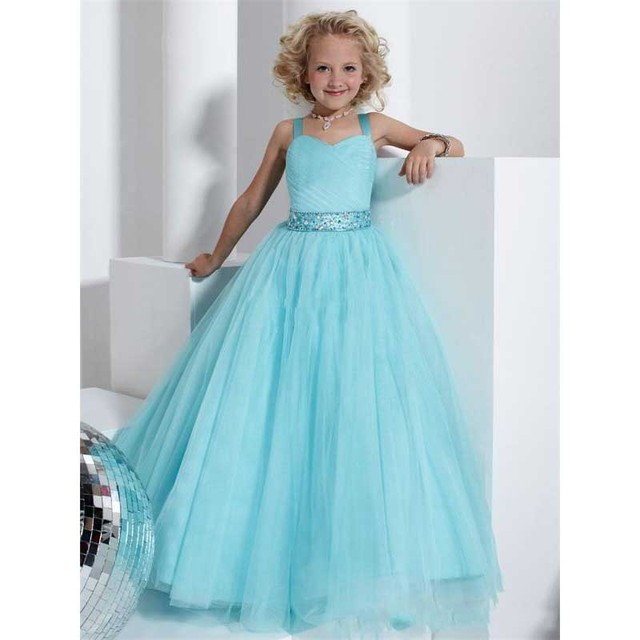 Light Blue Organza A Line Little Girls Formal Pageant Dresses With