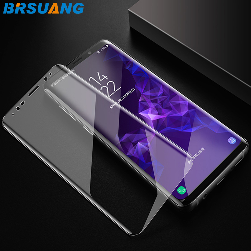 500pcs/lot BRSUANG Full Curved protection Film SmartPhone HD Full Cover Tempered GlassFor Samsung S9 Plus S8 S7Edge S7 Note 9 8 smartphone