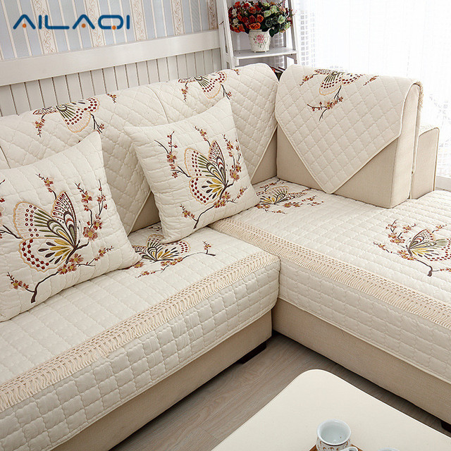 AILAQ Cotton cloth embroidery quilted sofa pad pastoral non slip