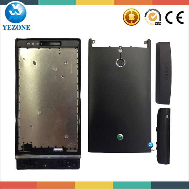 Substituição conjunto para Sony Ericsson Xperia P LT22i LT22 tampa de bateria + botão preto cor, De