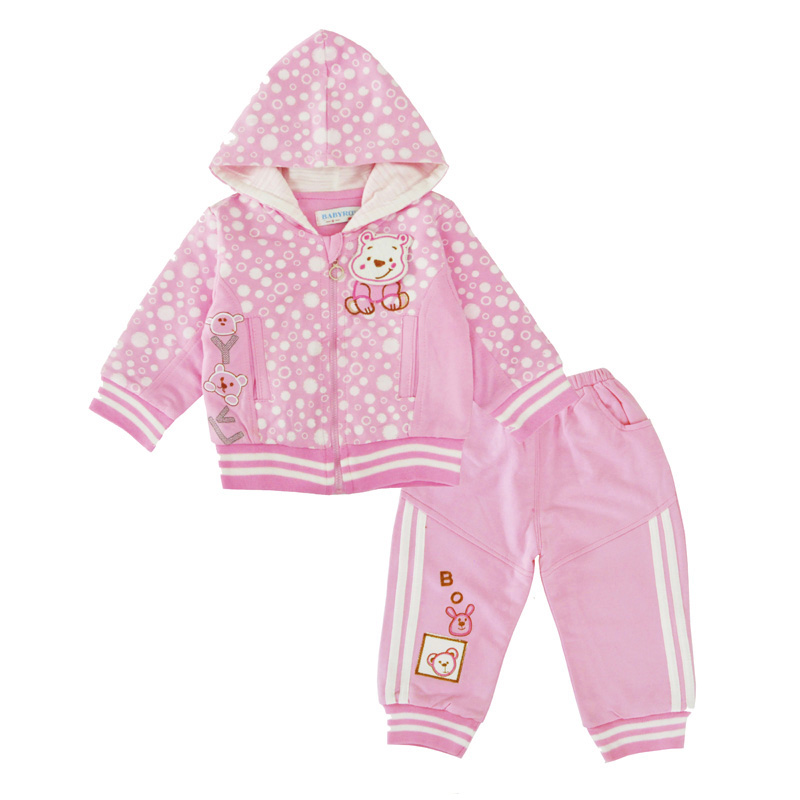 Baby Girls Clothing Set Infant Girls 3pcs Outfits Bear Hooded Tops Zipper Coat Pants Spring Autumn Newborn Clothing Sets Cotton