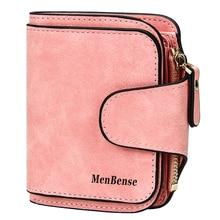 купить New Brand Leather Women Short Wallets Designer Zipper Small Wallet Women Card Holder Ladies Purse Money Bag Carteira Feminina по цене 427.67 рублей