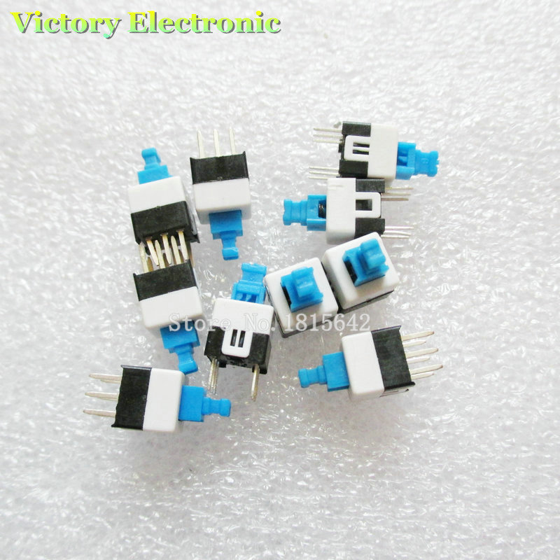 New 20PCS/Lot 7X7mm 7*7mm 6Pin Push Tactile Power Micro Switch Self Lock On/Off Button Latching Switch Wholesale Electronic