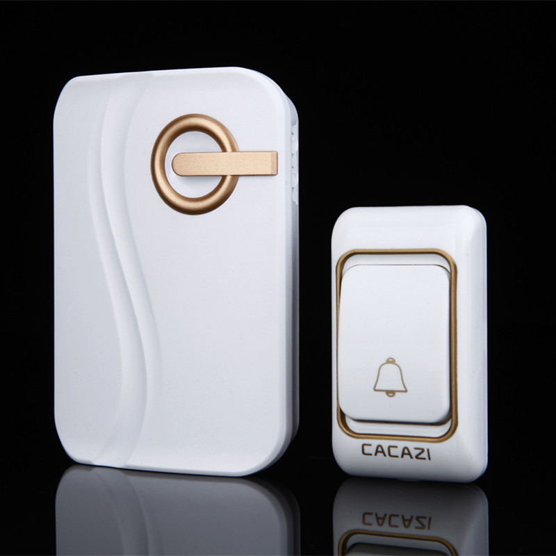 CACAZI New style Wireless Doorbell DC battery Door Chime 200M remote waterproof 1 transmitter 1 receiver cordless door ring  cacazi dc wireless doorbell need battery 150m remote waterproof gate door bell chime ring wireless 36 tunes 1 emitter 2 receiver