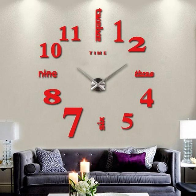 Décoration Murale Grand Miroir Horloge Murale Design Moderne 3D