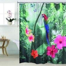 Fabric polyester 3D waterfall parrot  waterproof shower curtain bathroom curtain, 180x180cm, 180x200cm