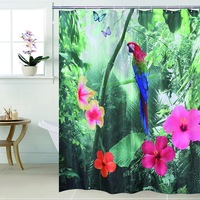 Fabric Polyester 3D Waterfall Parrot Waterproof Shower Curtain Bathroom Curtain 180x180cm 180x200cm