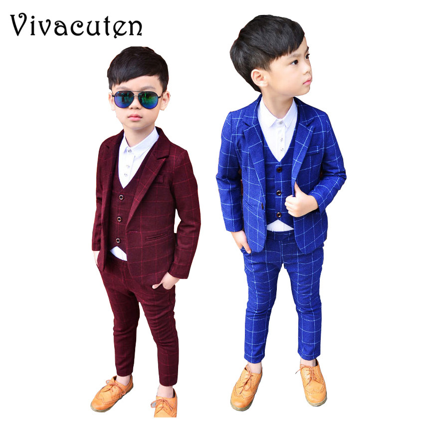 New Kids Plaid Wedding Suits Blazer Vest Pants 3pcs Brand Flower Boys Formal Tuxedos School Suit Spring Clothing Set F001