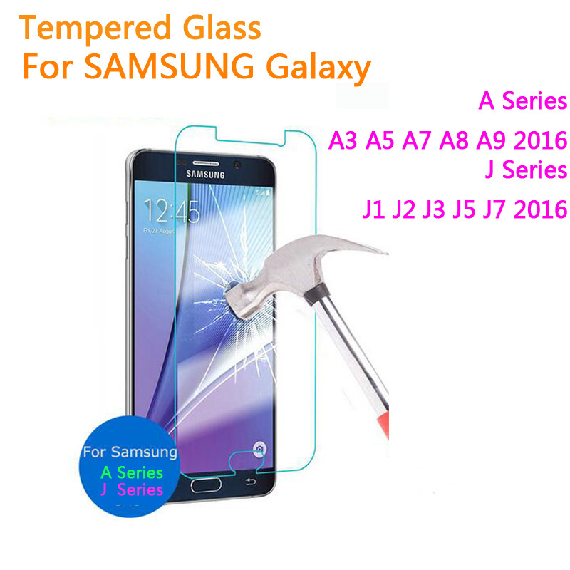 Vidro temperado para samsung galaxy j1 j2 j3 j5 j7 a3 A5 2016 A7 A9 J120F J320F J510F J710F Protetor de Tela de Proteção filme