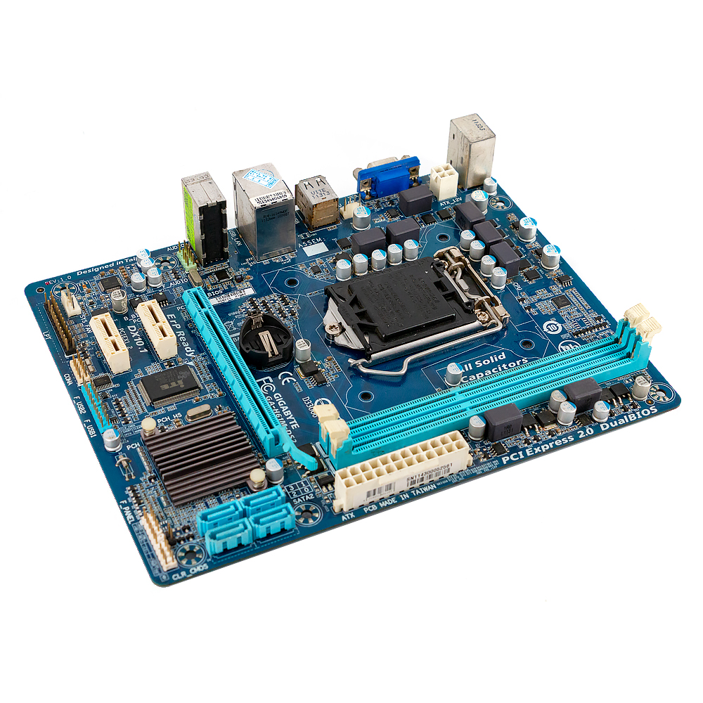 Image 2 - Gigabyte GA H61M DS2 Desktop Motherboard H61M DS2 H61 LGA 1155  For Core i3 i5 DDR3 16GB Micro ATX Used MainboardMotherboards   -