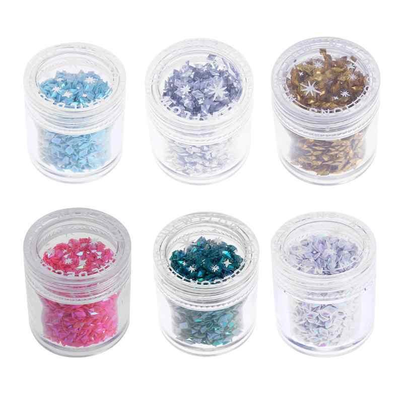 3D Nail Art Sticker Dekorasi Payet Belah Ketupat Berbentuk Nail Art Glitter Powder Nail Sparkly Paillette DIY Nail Decals