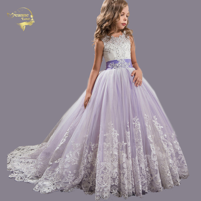 Flower Girls Dresses for Wedding BlingBling Embroidery Lace With Beads Bow Court Train Kids Graduation Gown Girl Ball Gown Dress-in Flower Girl Dresses from Weddings & Events    1