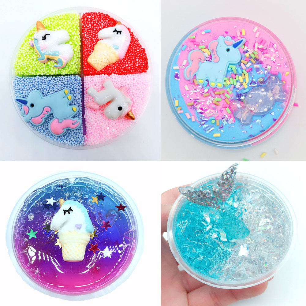 60ml Kids Unicorn DIY Cotton Slime Clay Plasticine Fluffy Slime Stress Relief No Borax Mud Scented Slime Toys For Children Gift