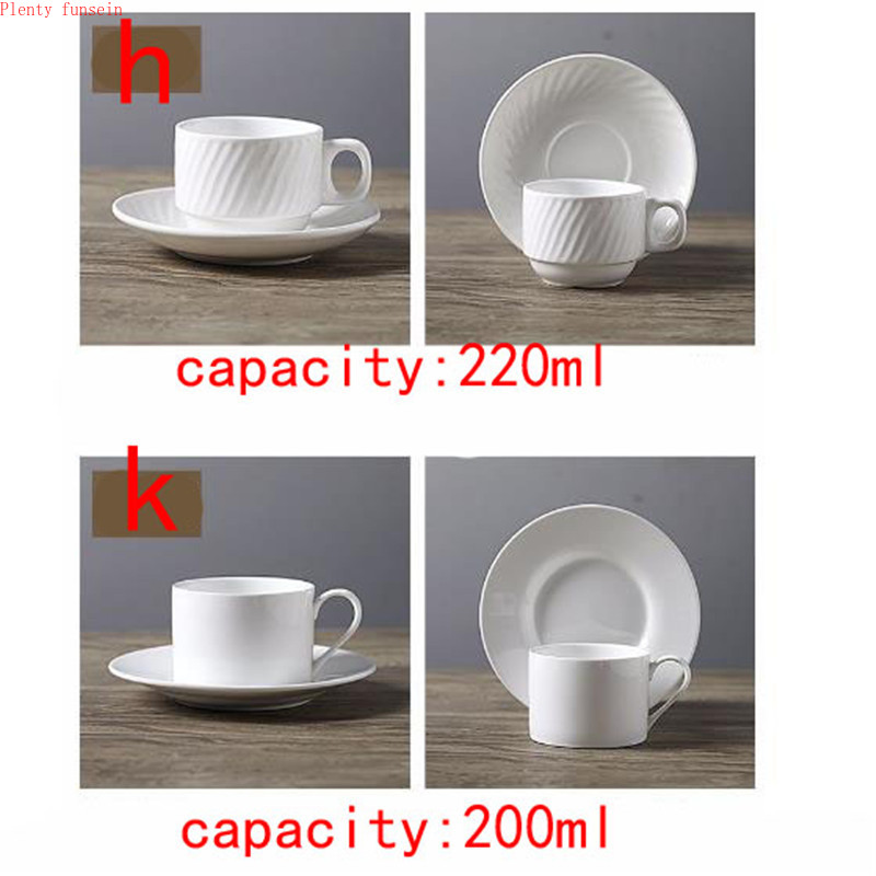 Luxurious Highend Pure white Coffee cups saucers ceramic set classic style plain mug customizable mugs plate tea drinking ware in Mugs from Home Garden