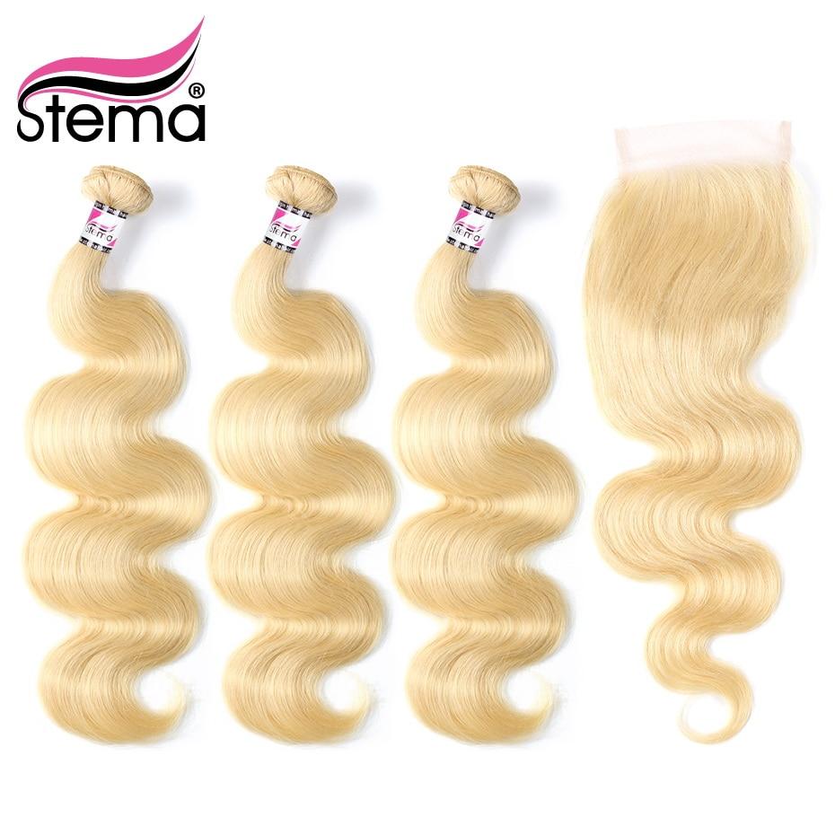 Stema бразильский волосы светлые цвета 613 Средства ухода за кожей волна Инструменты для завивки волос 3 Связки с Синтетическое закрытие волос ...