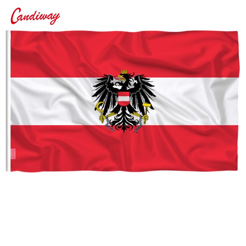 CANDIWAY Percent Polyester Printed Austria Eagle Flags Decoration Banner Austrian Flag Austria Flag Advertisement  90*150cm