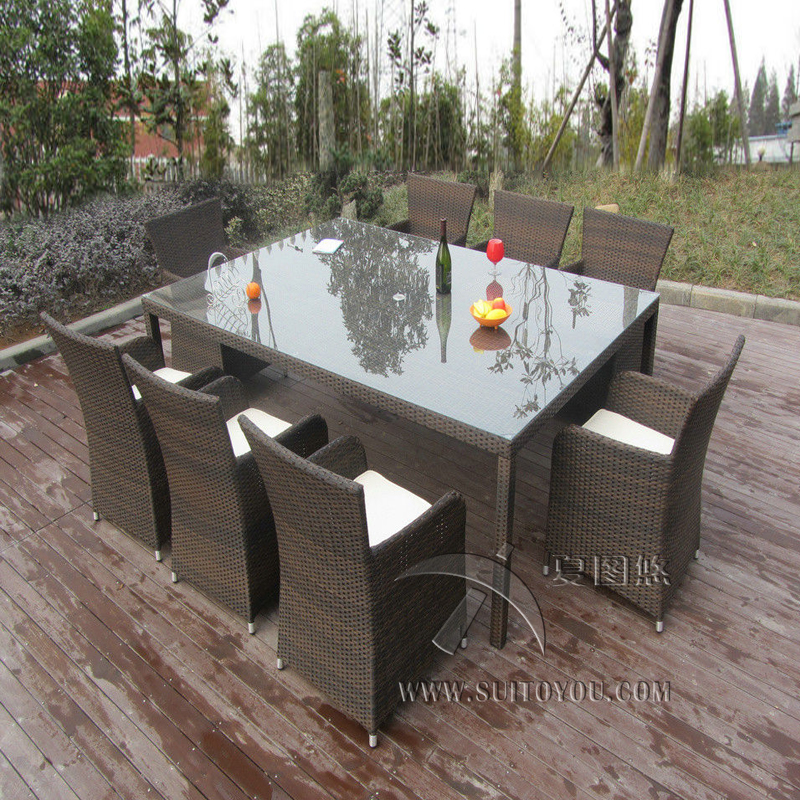 9pcs Rattan Conservatory Furniture , Bistro / Kitchen Dining Table Set transport by sea backless lace up midi bodycon dress