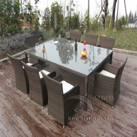 9pcs Rattan Conservatory Furniture , Bistro / Kitchen Dining Table Set transport by sea