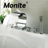 Водопад Ванная комната смеситель S бортике умывальник Ванная комната коснитесь 5 шт. набор флеш холодной и горячей воды смесители