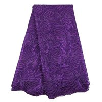 Wholesale sequin fabric Nigerian purple fabric high quality african tulle lace Sequin fabric for Nigerian Evening wedding dress