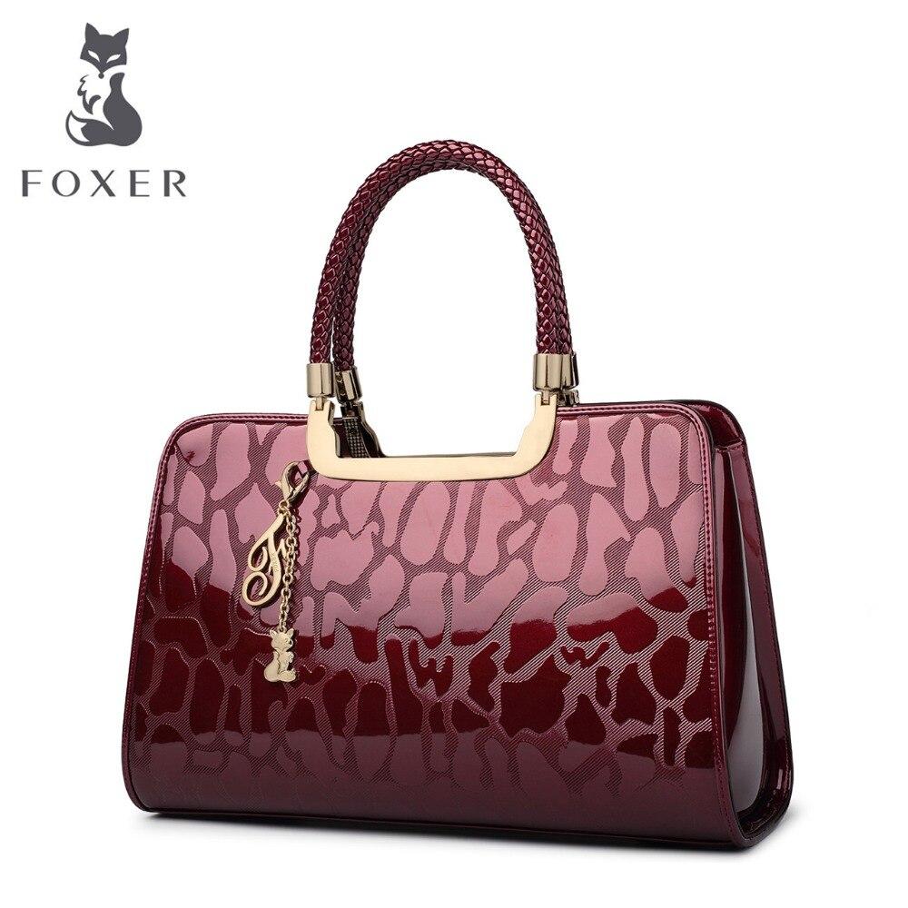 FOXER zīmola sievietes govs ādas rokassomu luksusa plecu soma - Rokassomas