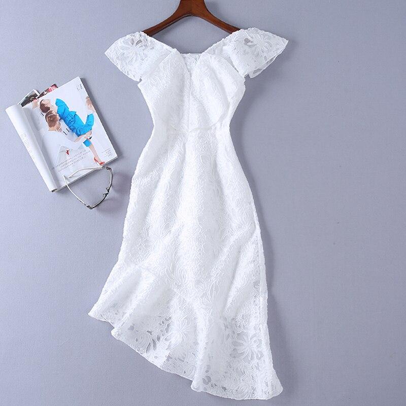 Rouge Plage Blanc Nouvelles Piste blanc Sexy Qualité Élégant Femmes D'été Mode Haute Boho 2018 Évider Chic Robe De Sirène Partie Vintage HqxgfPg