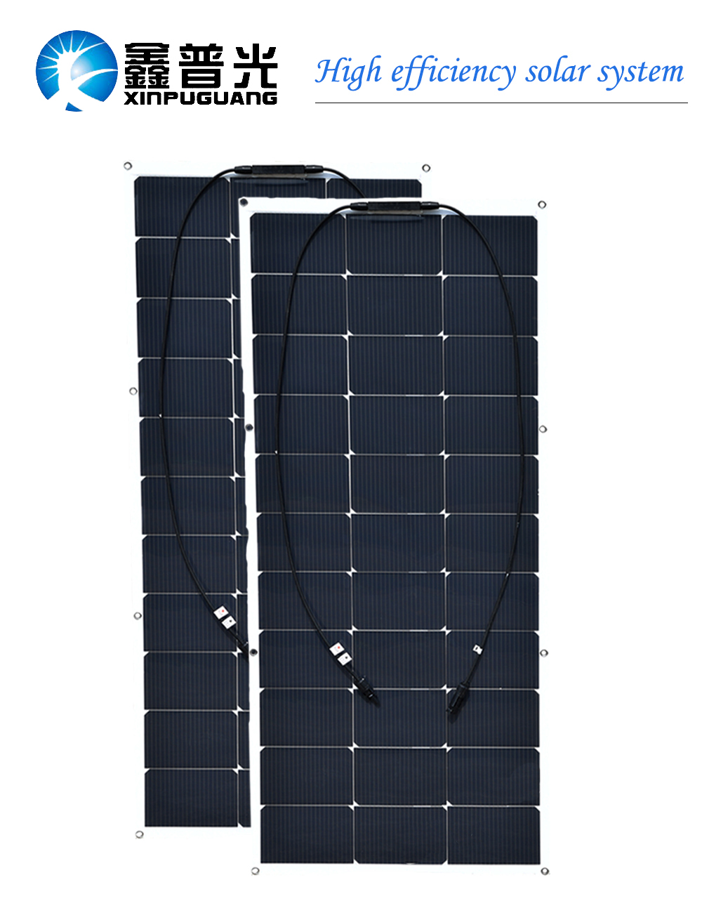 2pcs 100w semi flexible solar panel High efficiency monocrystalline silicon cell module for car RV yacht boat home power