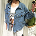 2016 Autumn Spring Long Sleeve Women Denim Jacket Frayed Jeans Jacket Women Oversized Jean Coat Girls Outwear