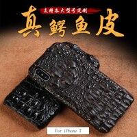 Роскошные натуральной крокодиловой кожи 3 вида стилей половина пакет чехол для iPhone 7 ручной работы можно настроить модель