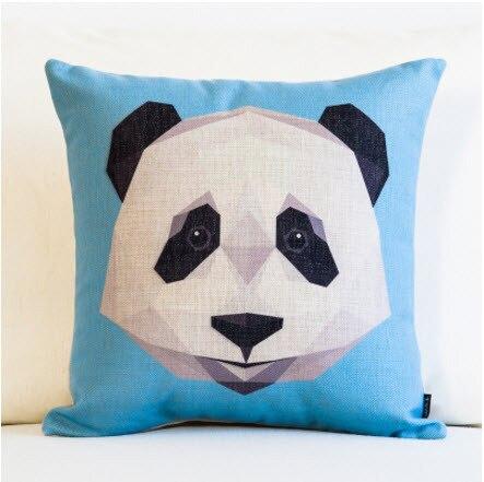 Geometria dos desenhos animados China Panda Lance Messager Emoji Decorativo Tampa Cochilo Travesseiro Fibra De Linho Do Vintage Fronha Bar Em Casa Garoto