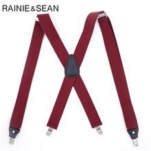 RAINIE SEAN Burgundy Suspenders Men Dress Wedding Braces Suspender For Shirt 4 Clips X Back Elastic Belt